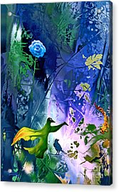 Blue Flower With Guardian Acrylic Print