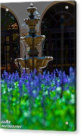 Blue Flowers And A Fountain Acrylic Print