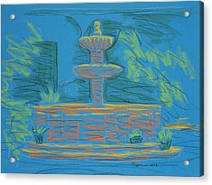 Blue Fountain Acrylic Print by Marcia Meade