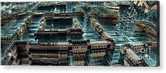 Blue Future City Acrylic Print by Bernard MICHEL