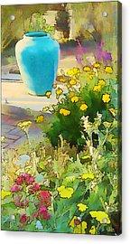 Blue Garden Pot Acrylic Print