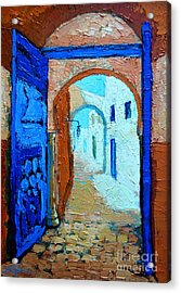 Acrylic Print featuring the painting Blue Gate by Ana Maria Edulescu