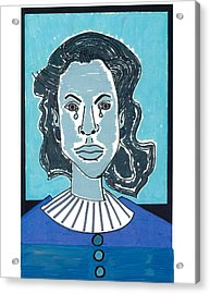 Acrylic Print featuring the drawing Blue Girl by Don Koester