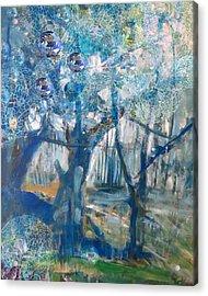 Blue Glass Bead Tree Acrylic Print
