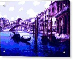 Blue Gondolas Railto Bridge Venice Italy Enhanced   Acrylic Print by L Brown