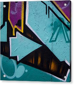 Blue Graffiti Arrow Square Acrylic Print