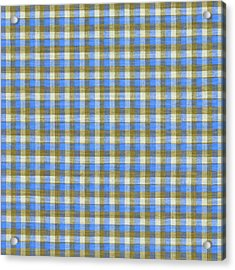 Blue Green And White Plaid Pattern Cloth Background Acrylic Print by Keith Webber Jr
