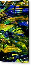 Blue Green Glass Macro Acrylic Print by David Patterson