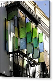 Blue-green-gold Windows In Cordoba Acrylic Print by Jacqueline M Lewis