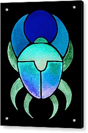 Acrylic Print featuring the mixed media Blue Green Scarab by Elizabeth Lock