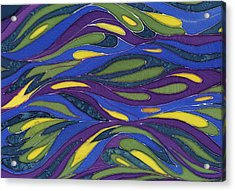 Blue Green Yellow  Abstract Silk Design Acrylic Print by Sharon Freeman
