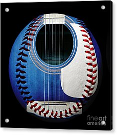 Blue Guitar Baseball Square Acrylic Print