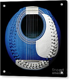 Blue Guitar Baseball White Laces Square Acrylic Print by Andee Design
