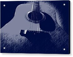 Blue Guitar Acrylic Print by Photographic Arts And Design Studio