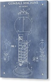 Blue Gumball Machine Patent Acrylic Print by Dan Sproul