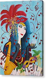 Blue Haired Lady Acrylic Print