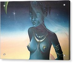 Acrylic Print featuring the painting Blue Haitian Woman by Jean Pierre