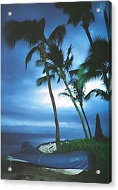 Blue Hawaii With Planets At Night Acrylic Print by Connie Fox