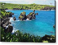 Acrylic Print featuring the photograph Blue Hawaiian Lagoon Near Blacksand Beach On Maui by Amy McDaniel