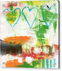Blue Hearts- Abstract Painting Acrylic Print