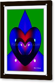 Acrylic Print featuring the painting Blue Hearts by Rafael Salazar