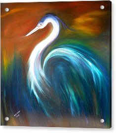 Acrylic Print featuring the painting Blue Heron by Dorothy Maier