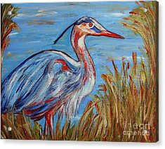 Acrylic Print featuring the painting Blue Heron by Jeanne Forsythe