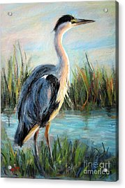 Acrylic Print featuring the painting Blue Heron by Jieming Wang