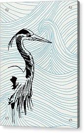 Blue Heron On Waves Acrylic Print