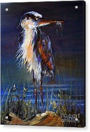 Acrylic Print featuring the painting Blue Heron by Priti Lathia