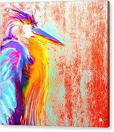 Funky Blue Heron Bird Acrylic Print