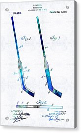 Blue Hockey Stick Art Patent - Sharon Cummings Acrylic Print