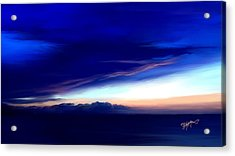 Acrylic Print featuring the digital art Blue Horizon Dawn Over Sea by Anthony Fishburne
