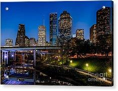 Blue Hour On Buffalo Bayou Acrylic Print by Dee Zunker