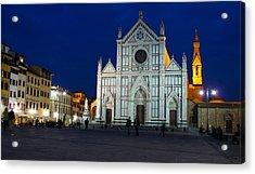 Blue Hour - Santa Croce Church Florence Italy Acrylic Print