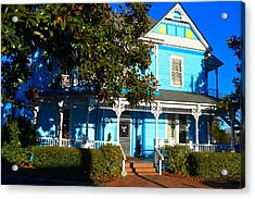 Blue House And Magnolia Acrylic Print