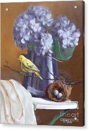 Blue Hydrangeas And Yellow Finch Acrylic Print by Viktoria K Majestic