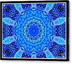 Acrylic Print featuring the photograph Blue Hydrangeas Flower Kaleidoscope by Rose Santuci-Sofranko