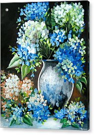 Acrylic Print featuring the painting Blue Hydrangeas by Patrice Torrillo