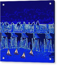 Acrylic Print featuring the painting Blue II Toy Sailboats In Lake Worth by David Mckinney