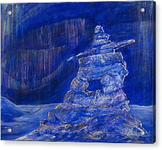 Acrylic Print featuring the painting Blue Inukshuk by Cathy Long