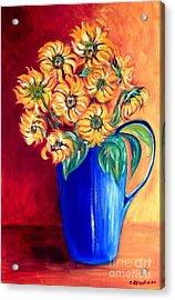 Blue Jug Yellow Flowers Acrylic Print by Caroline Street