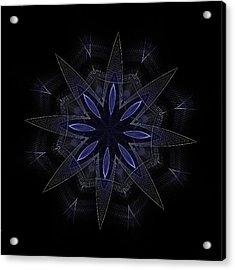 Blue Lace Fractal Mandala Acrylic Print