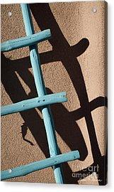 Blue Ladder And Shadow Acrylic Print by David Gordon