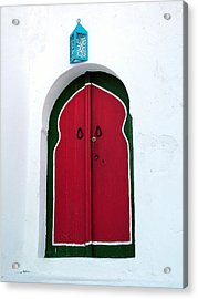 Blue Lantern Over Red Door Acrylic Print