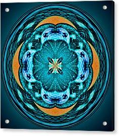 Blue Leaf Mandala Kaleidoscope Acrylic Print