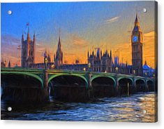 Acrylic Print featuring the painting Blue London by Douglas MooreZart