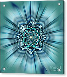 Blue Lotus Mandala Acrylic Print by Deborah Smith