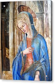Blue Madonna Acrylic Print by Anonymous