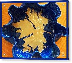 Blue Maple Leaf Dish Acrylic Print by Joan-Violet Stretch